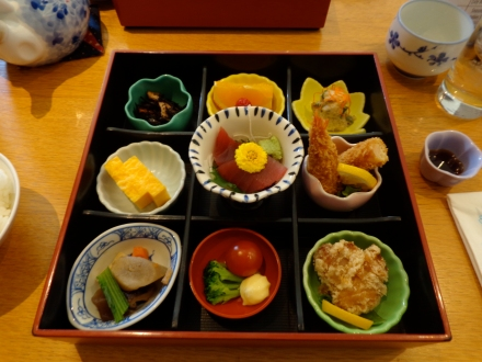 A traditional japanese lunch.