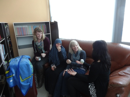 Having Turkish coffee in the library before a KYAC MUN meeting.