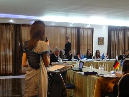 Irida giving a speech in Security Council debates